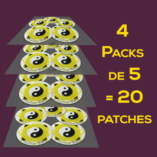 image de 4 Packs de 5 soit 20 patches N&B dorés + doming