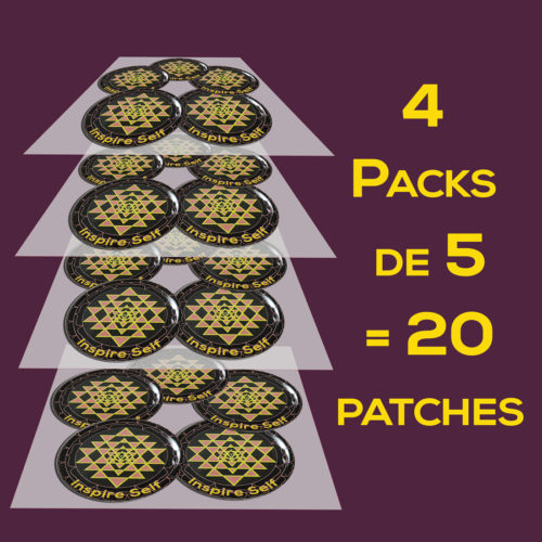 image de 4 Packs de 5 soit 20 patches Shri yantra + doming